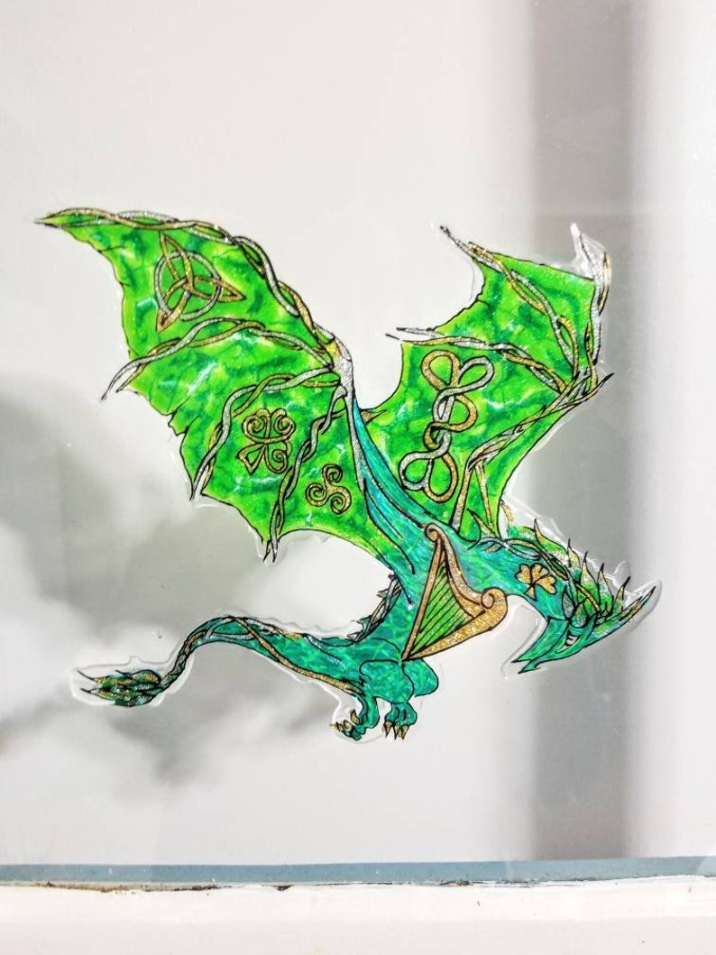 Pair of Celtic Dragons hand painted stained glass decalart cling