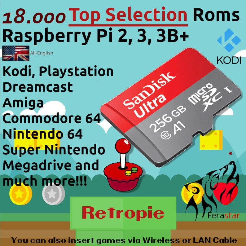 Top Selection 2019 - (RetroPie + Kodi) Sd Card Raspberry Pi 2, 3, 3B+