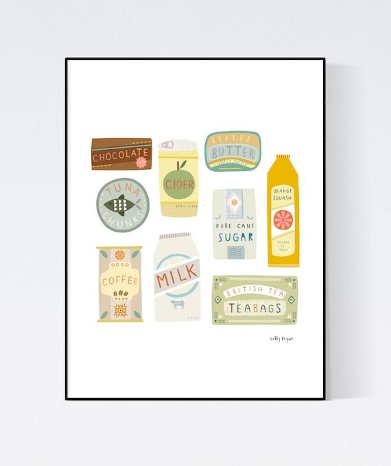 Food packaging wall art