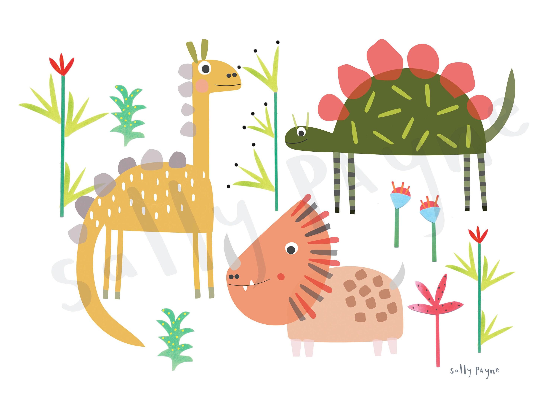 Dinosaur print Wall art -  wall art -  Children's prints -  Children's wall art - Children's Illustration