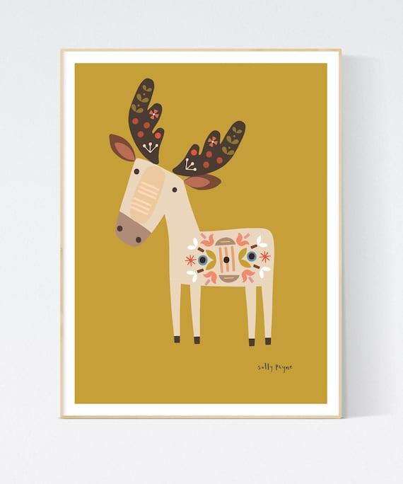 Reindeer folk wall art