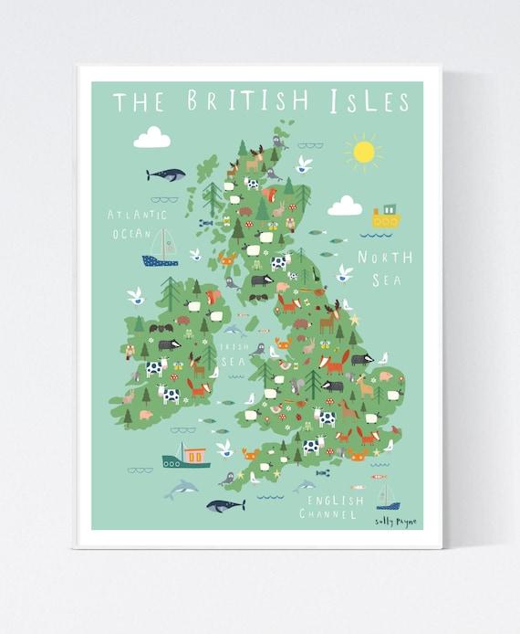 The british isles illustrated wall map-  wall art