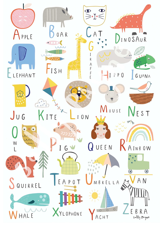 Alphabet  Wall art -  wall art -  Children's prints -  Children's wall art - Children's Illustration