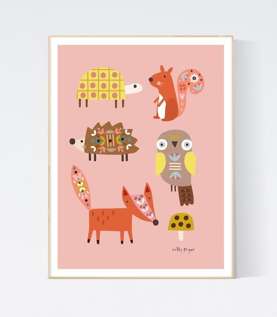 Woodland animals-  children's prints