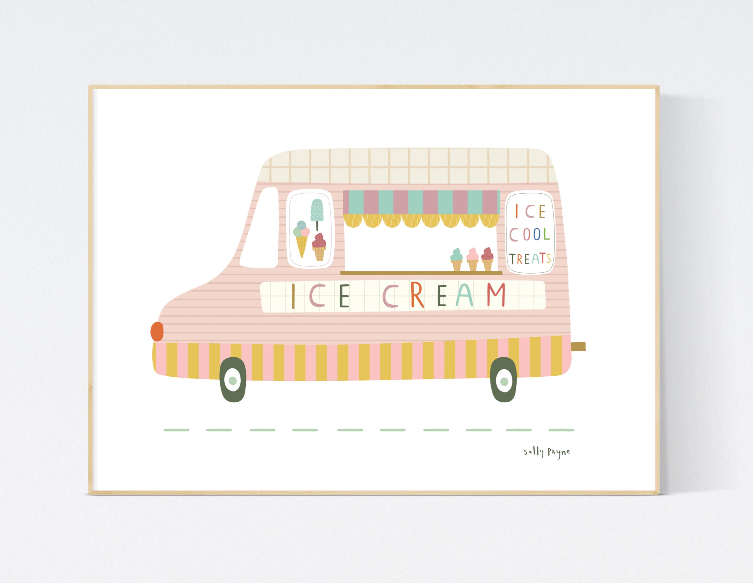Ice cream van  Wall art -  wall art -  Children's prints -  Children's wall art - Children's Illustration