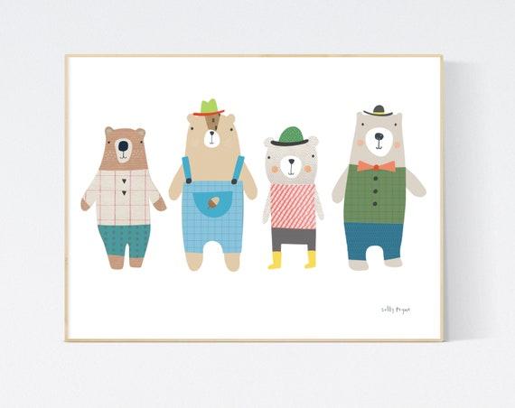 4 bears print wall art