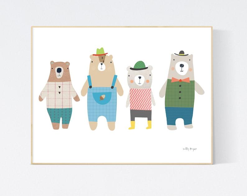 4 Bears print Wall art   wall art   Children's prints  image 0