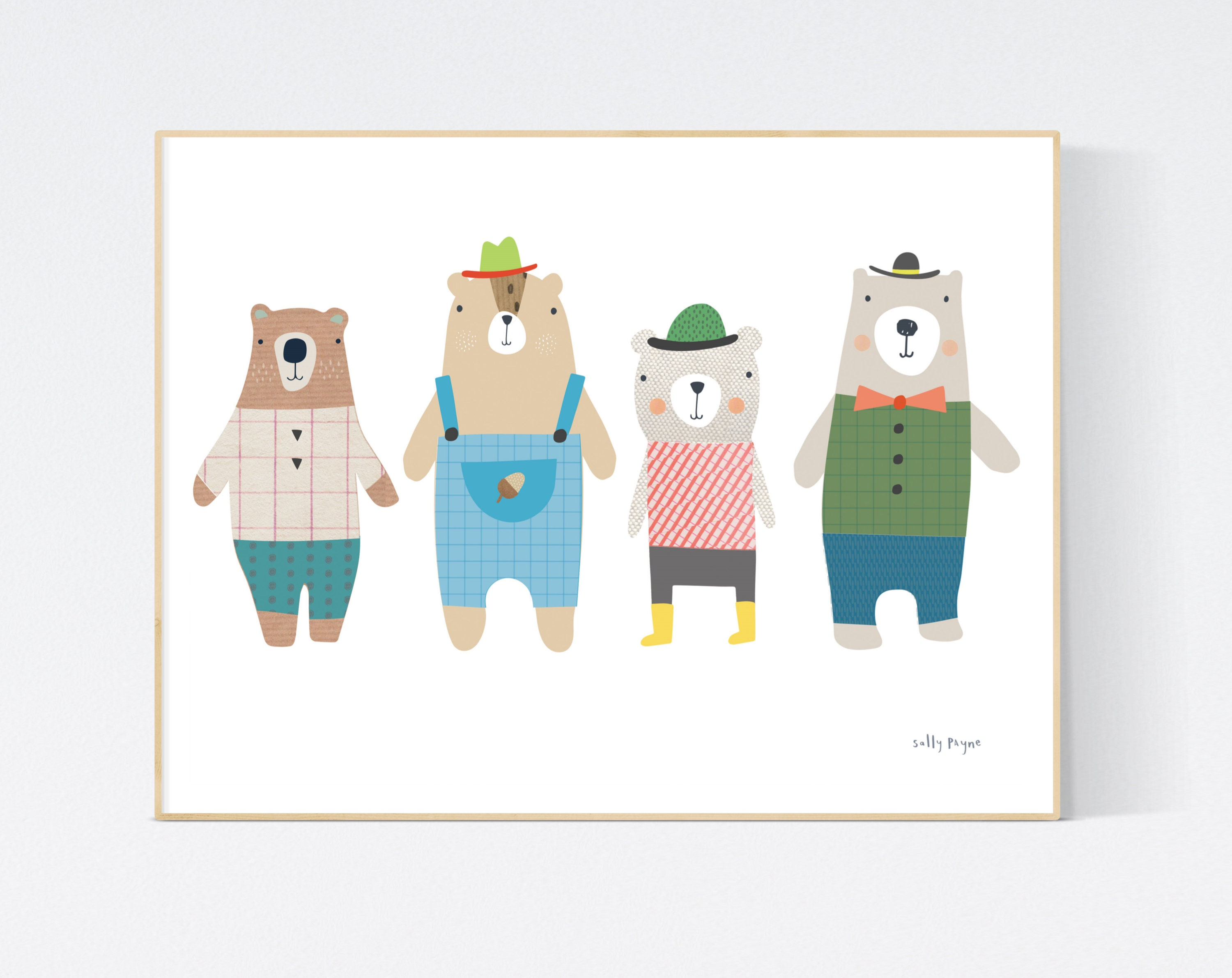 4 Bears print Wall art -  wall art -  Children's prints -  Children's wall art - Children's Illustration