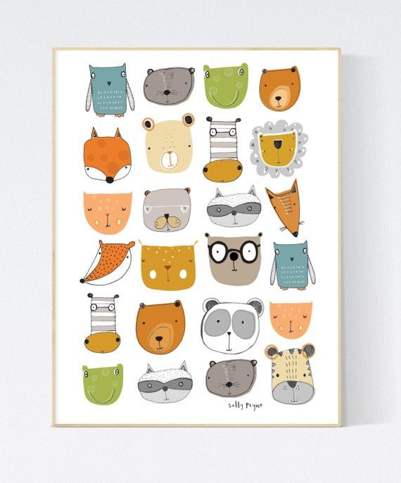 Animal faces print wall art