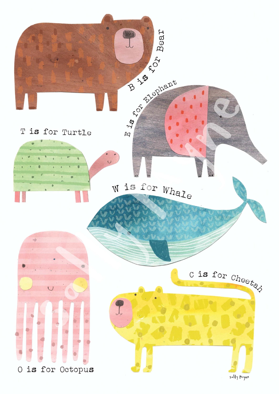 Animal  Wall art -  wall art -  Children's prints -  Children's wall art - Children's Illustration