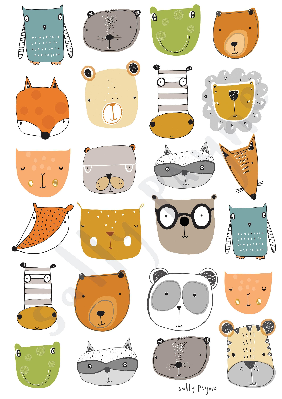 Animal faces print Wall art -  wall art -  Children's prints -  Children's wall art - Children's Illustration