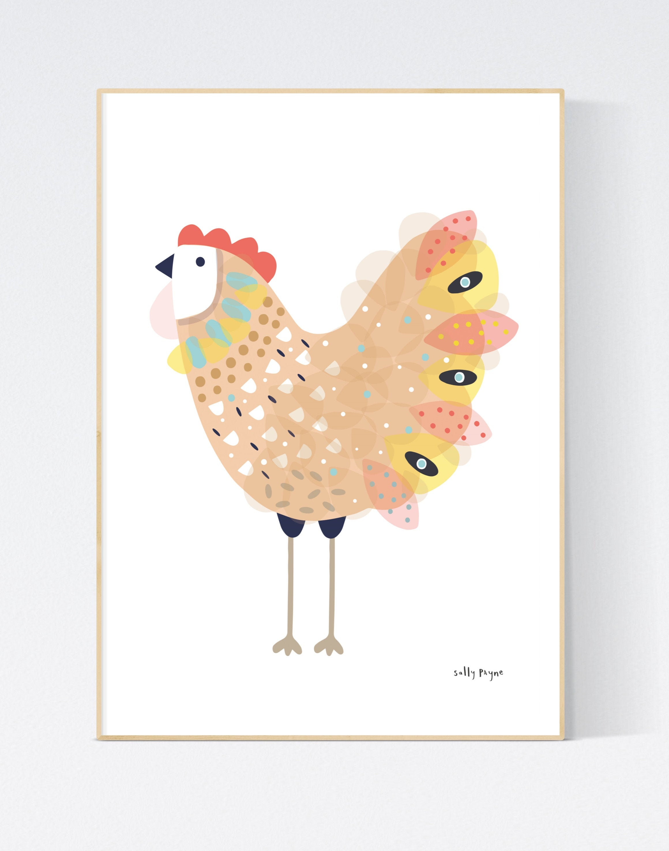 Chicken  Wall art -  wall art -  Children's prints -  Children's wall art - Children's Illustration