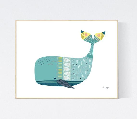 Whale print wall art
