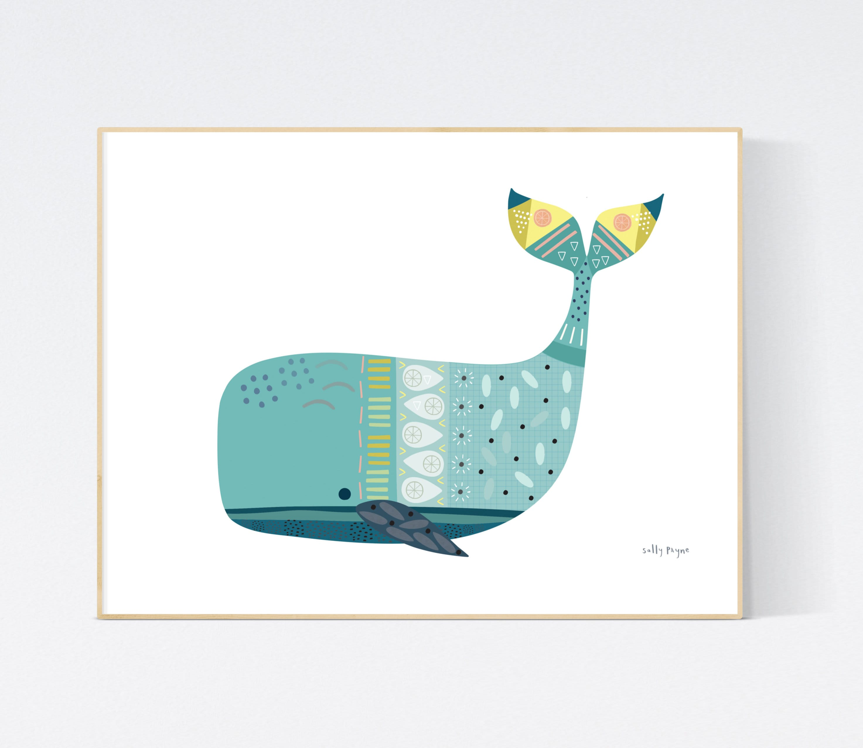 Whale print Wall art -  wall art -  Children's prints -  Children's wall art - Children's Illustration