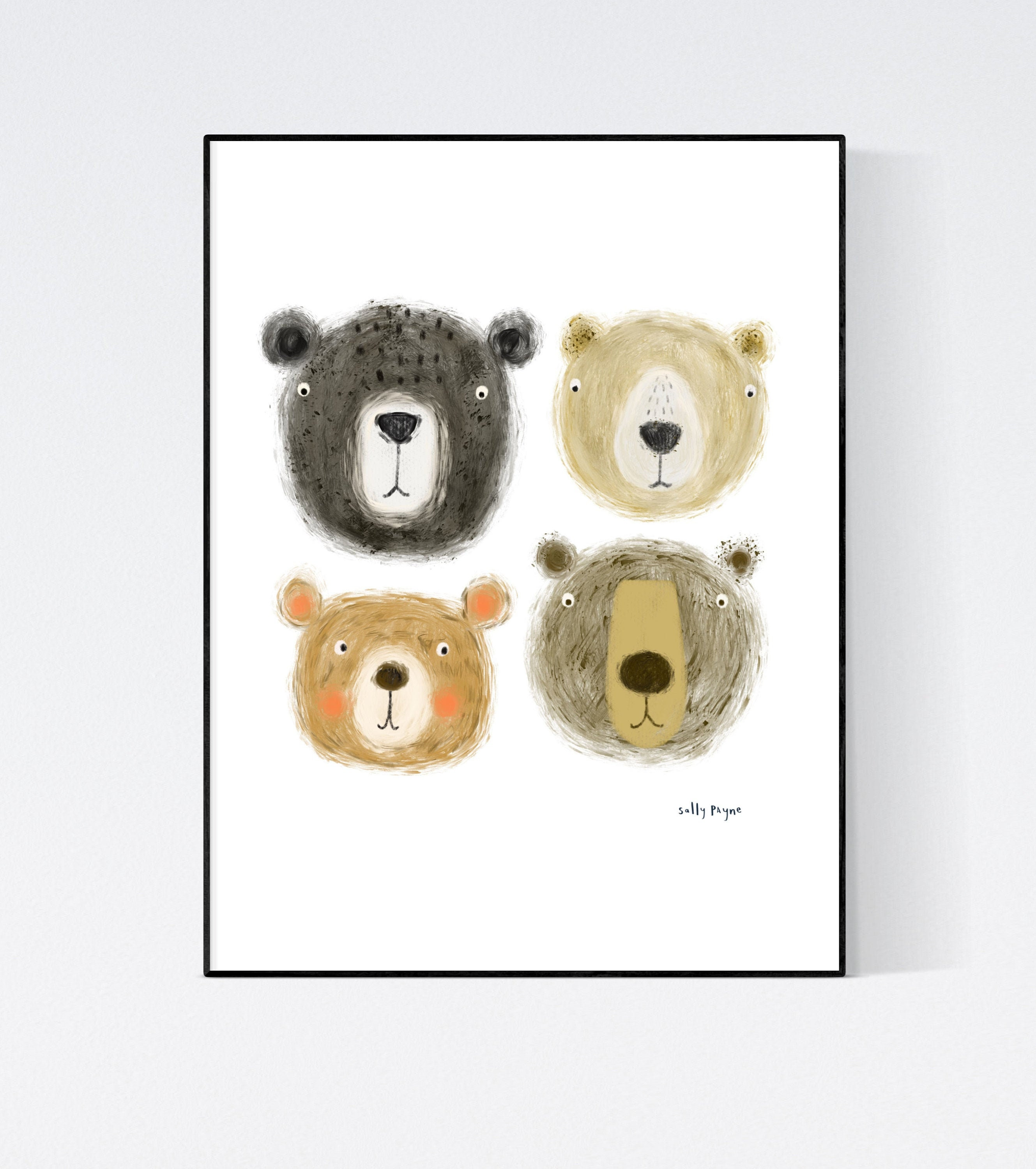 Bear Faces Wall art -  wall art -  Wall prints - Children's wall art
