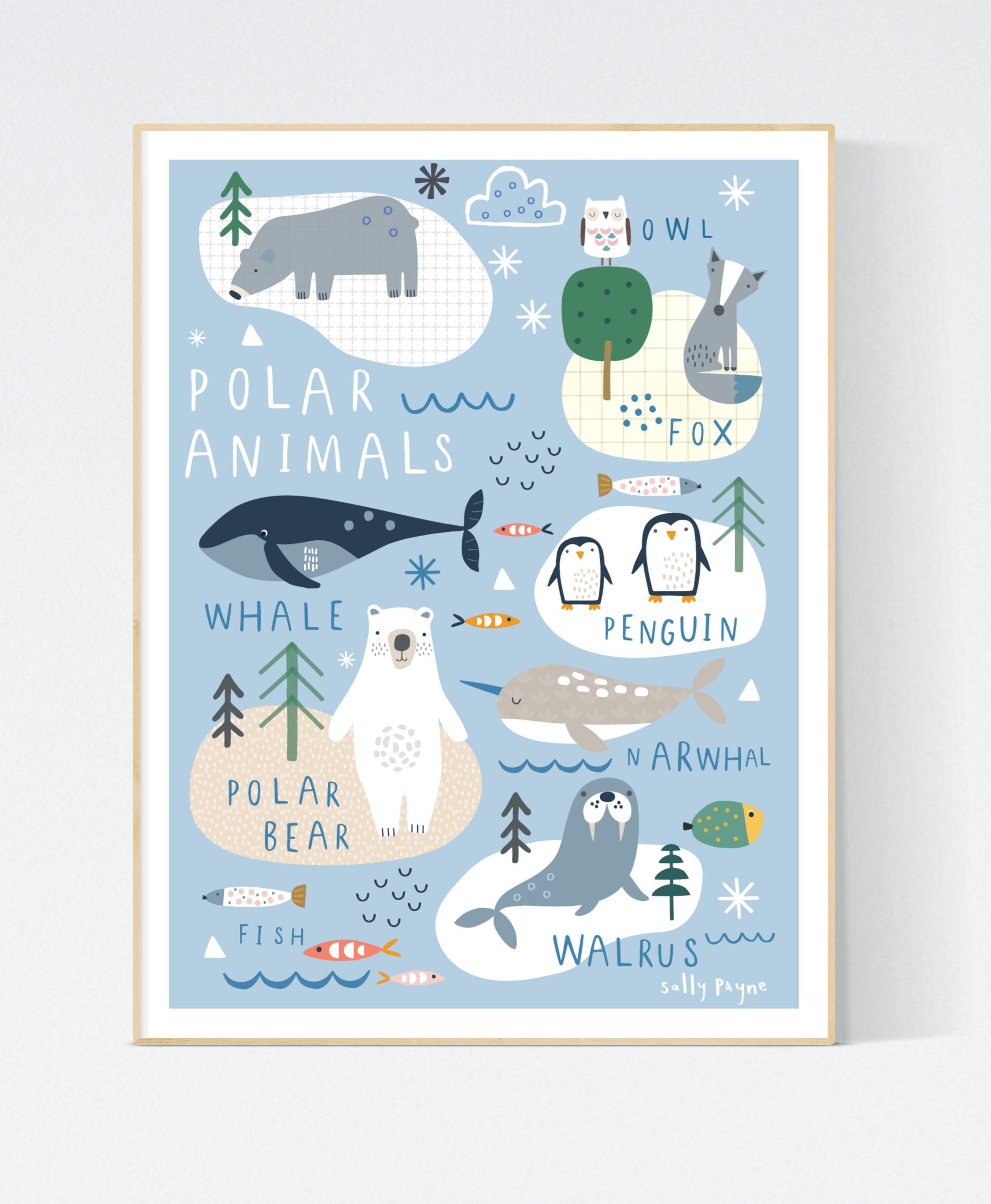 Polar animals Wall art -  wall art -  Children's prints -  Children's wall art - Children's Illustration