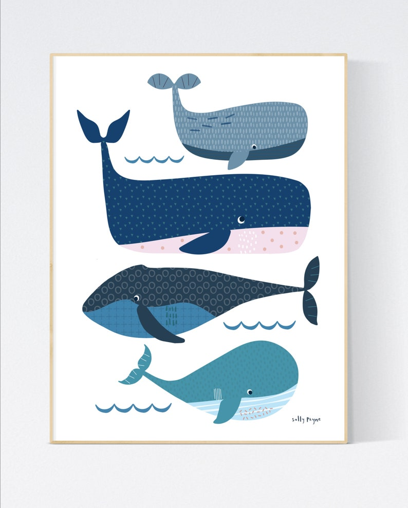 Whale print Wall art   wall art   Children's prints  image 0