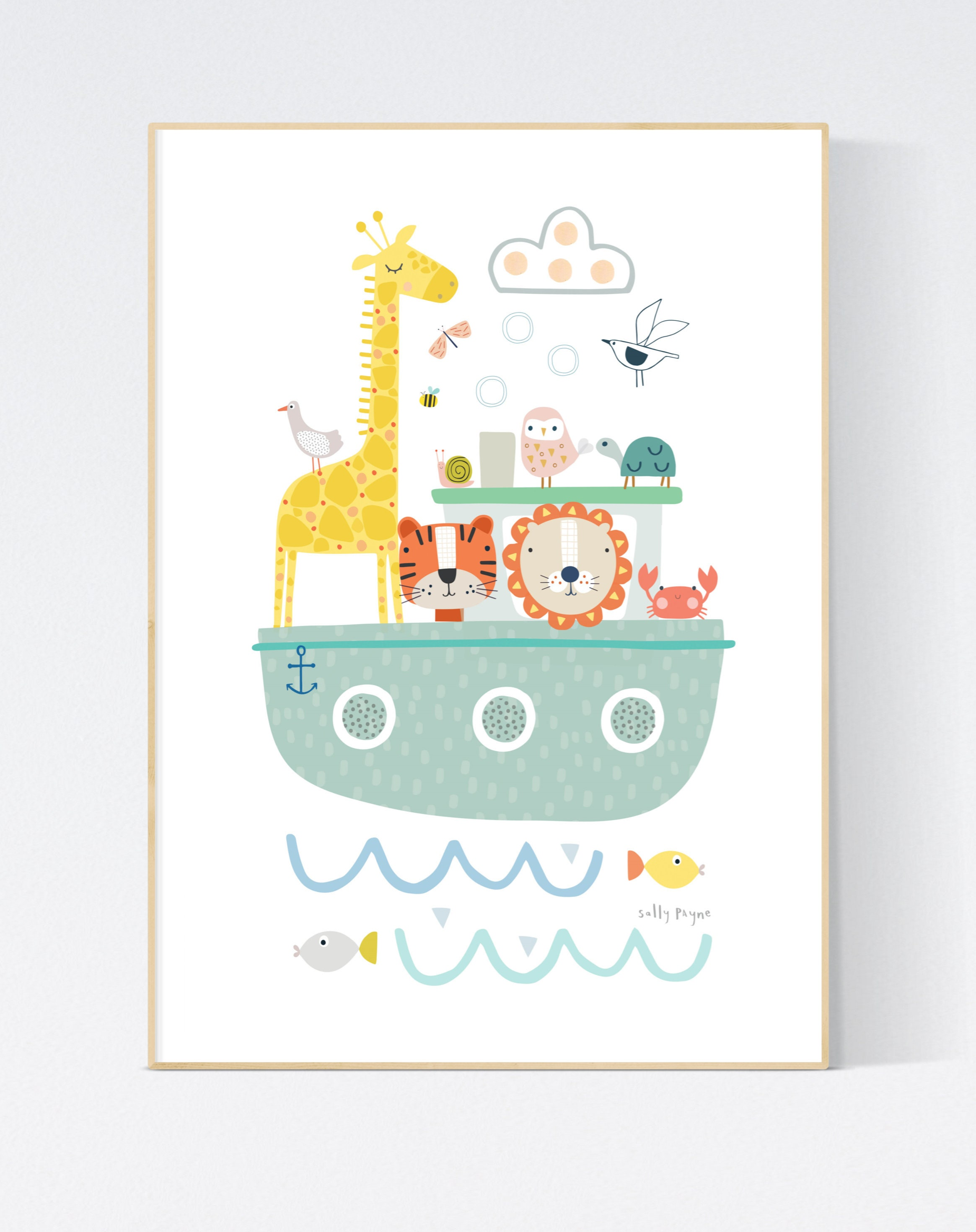 Animal Nautical Boat  Wall art -  wall art -  Wall prints - Children's wall art