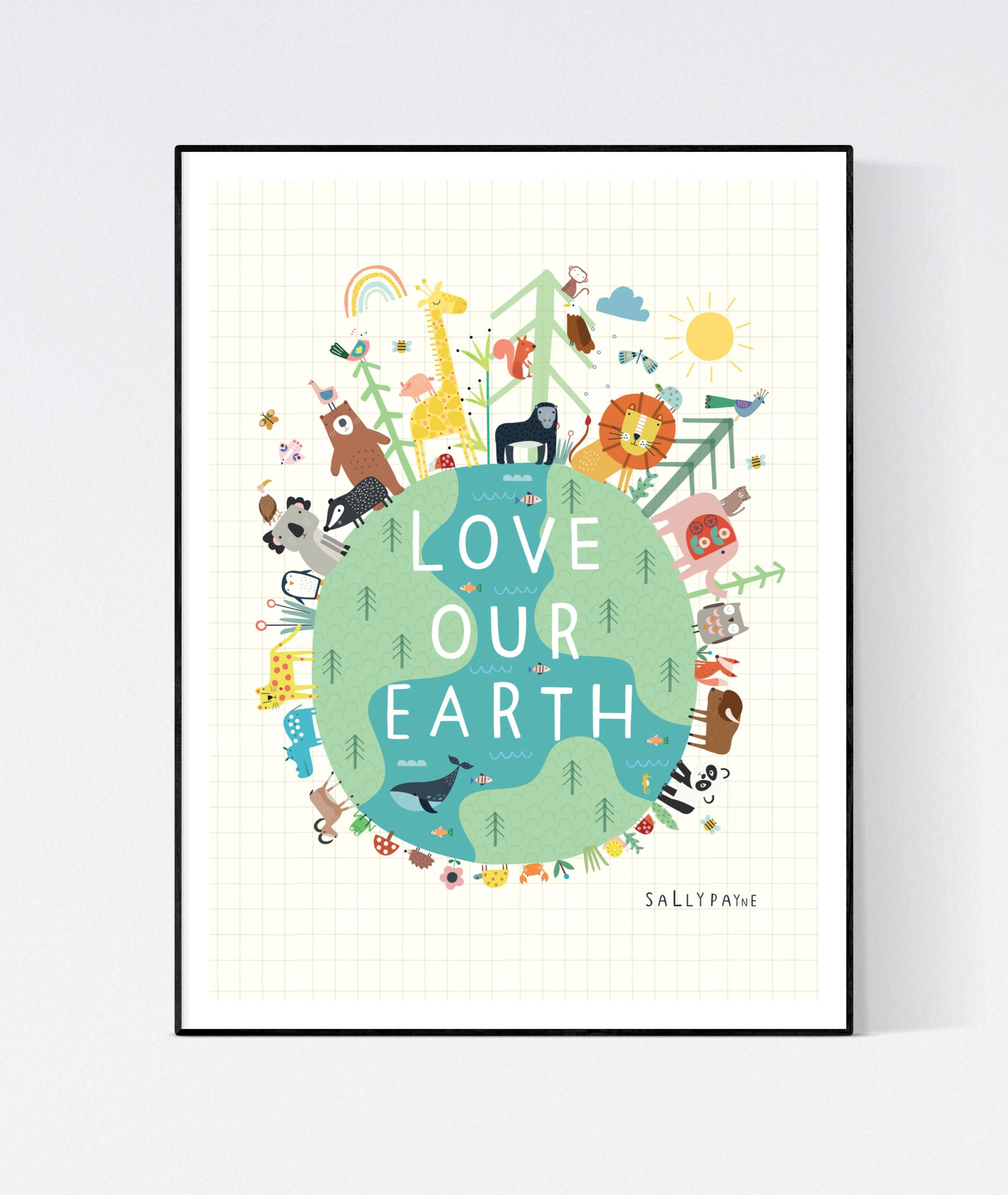 Love our Earth wall art -  Children's prints -  Children's wall art - Children's Illustration