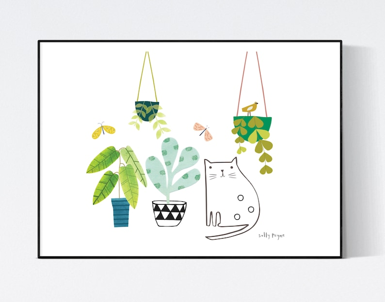 Cat and plants  Wall art   wall art   Wall prints  Plant image 0