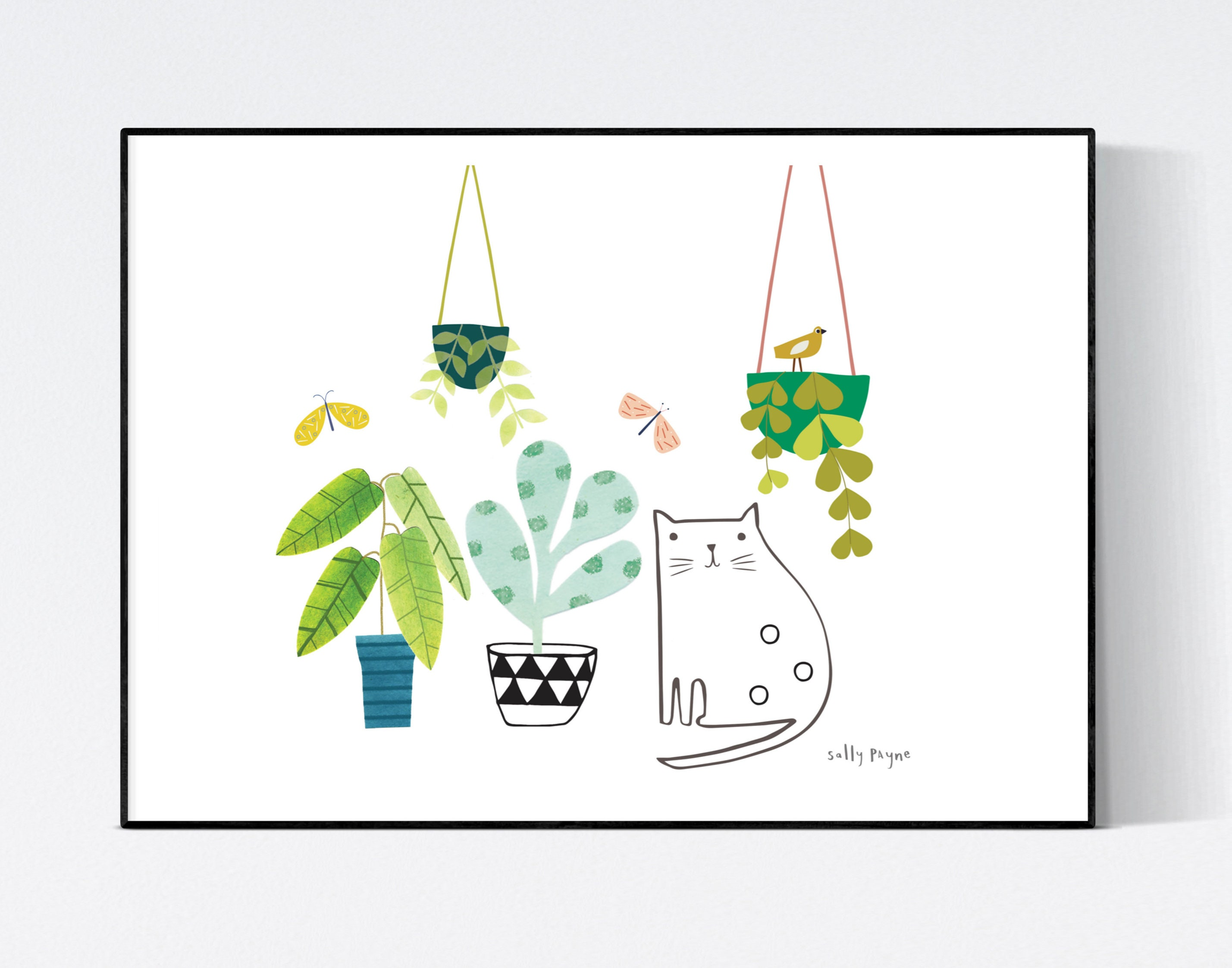 Cat and plants  Wall art -  wall art -  Wall prints - Plant wall art