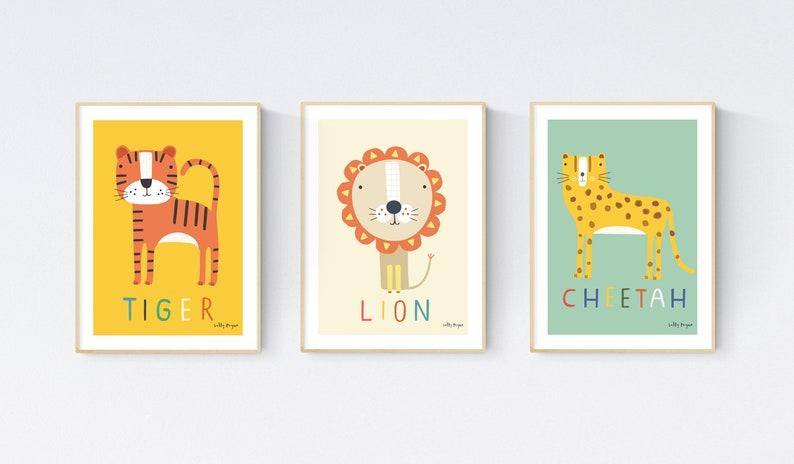 3 Animal Children's prints   Children's wall art  image 0