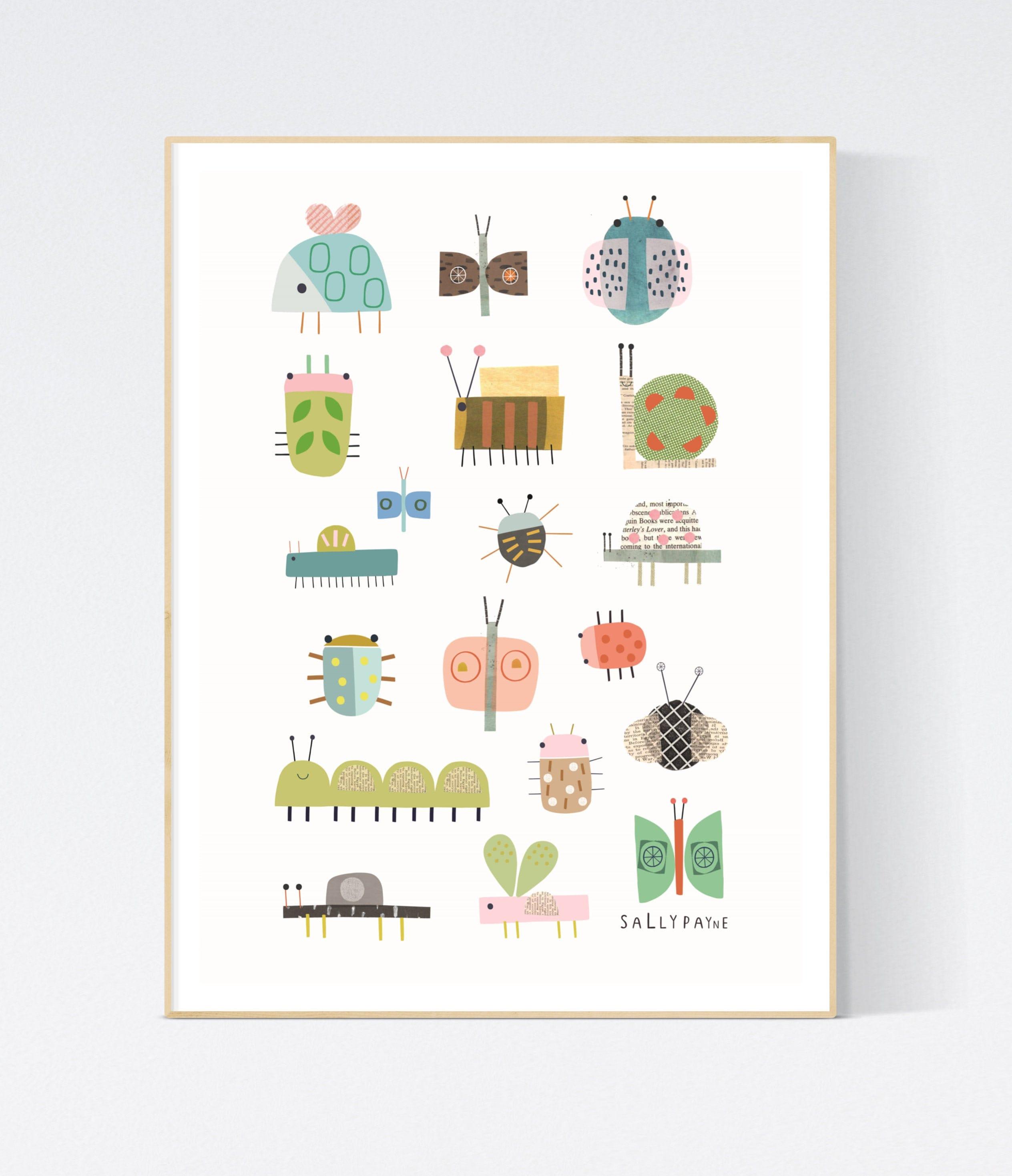 Bug  Wall art -  wall art -  Children's prints -  Children's wall art - Children's Illustration