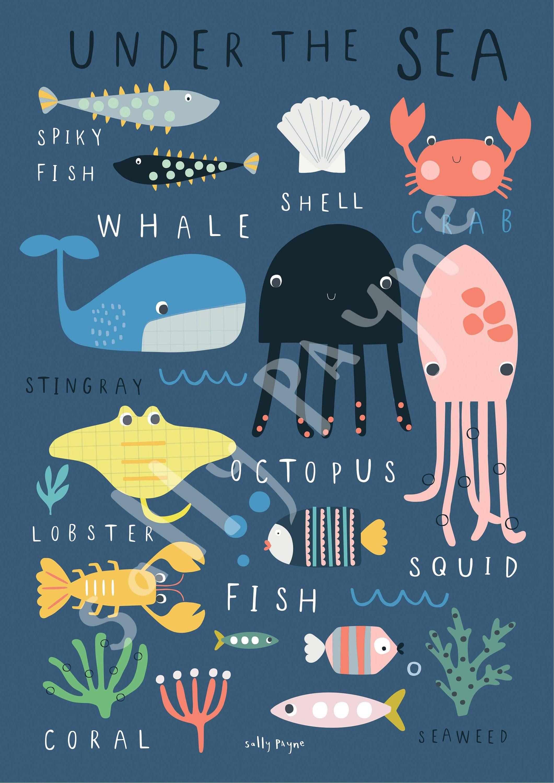 Under the sea Wall art -  wall art -  Children's prints -  Children's wall art - Children's Illustration