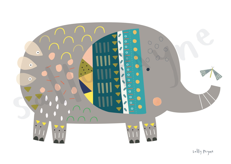 Elephant print Wall art -  wall art -  Children's prints -  Children's wall art - Children's Illustration
