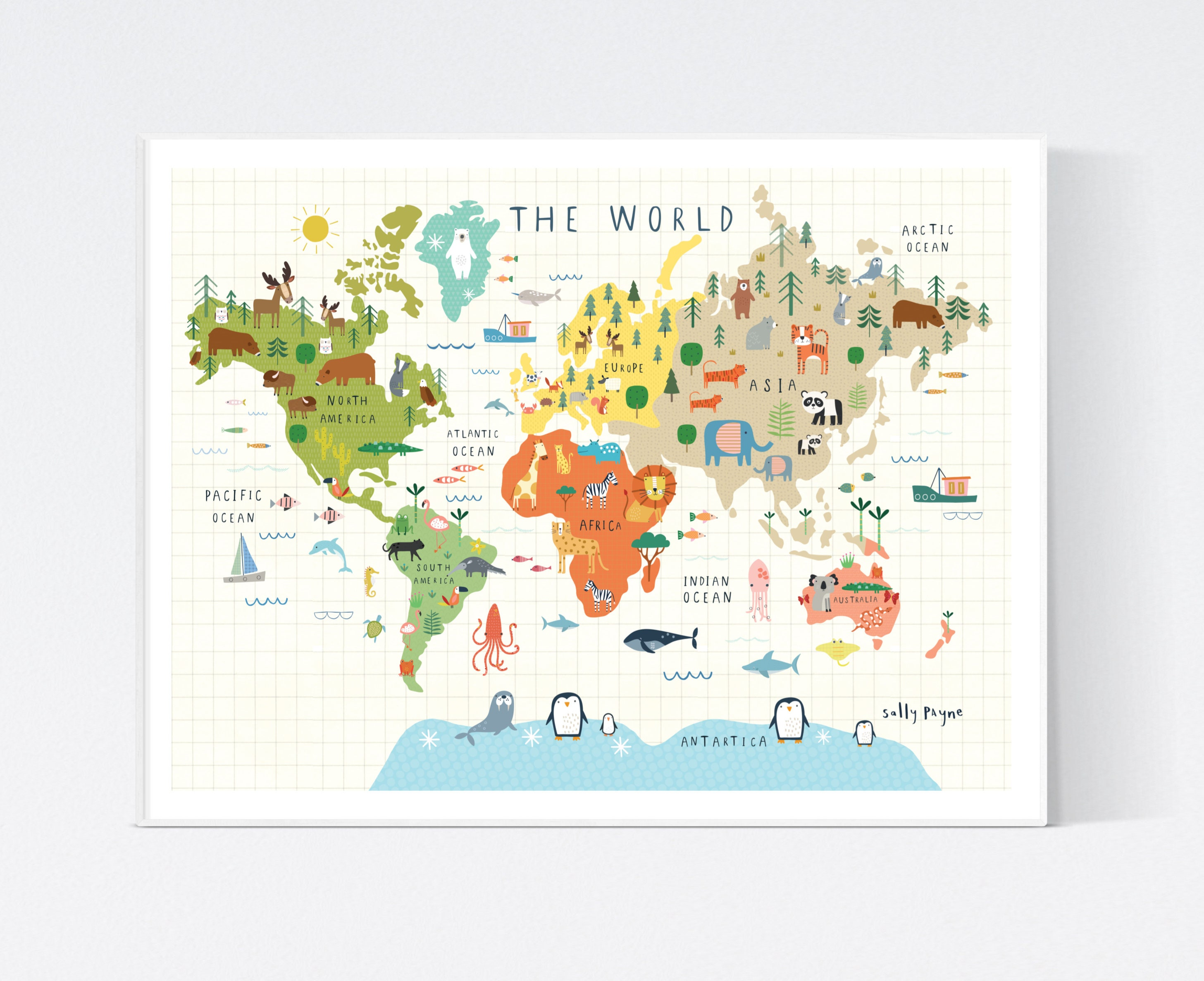 The World illustrated wall map-  wall art -  Children's prints -  Children's wall art - Children's Illustration