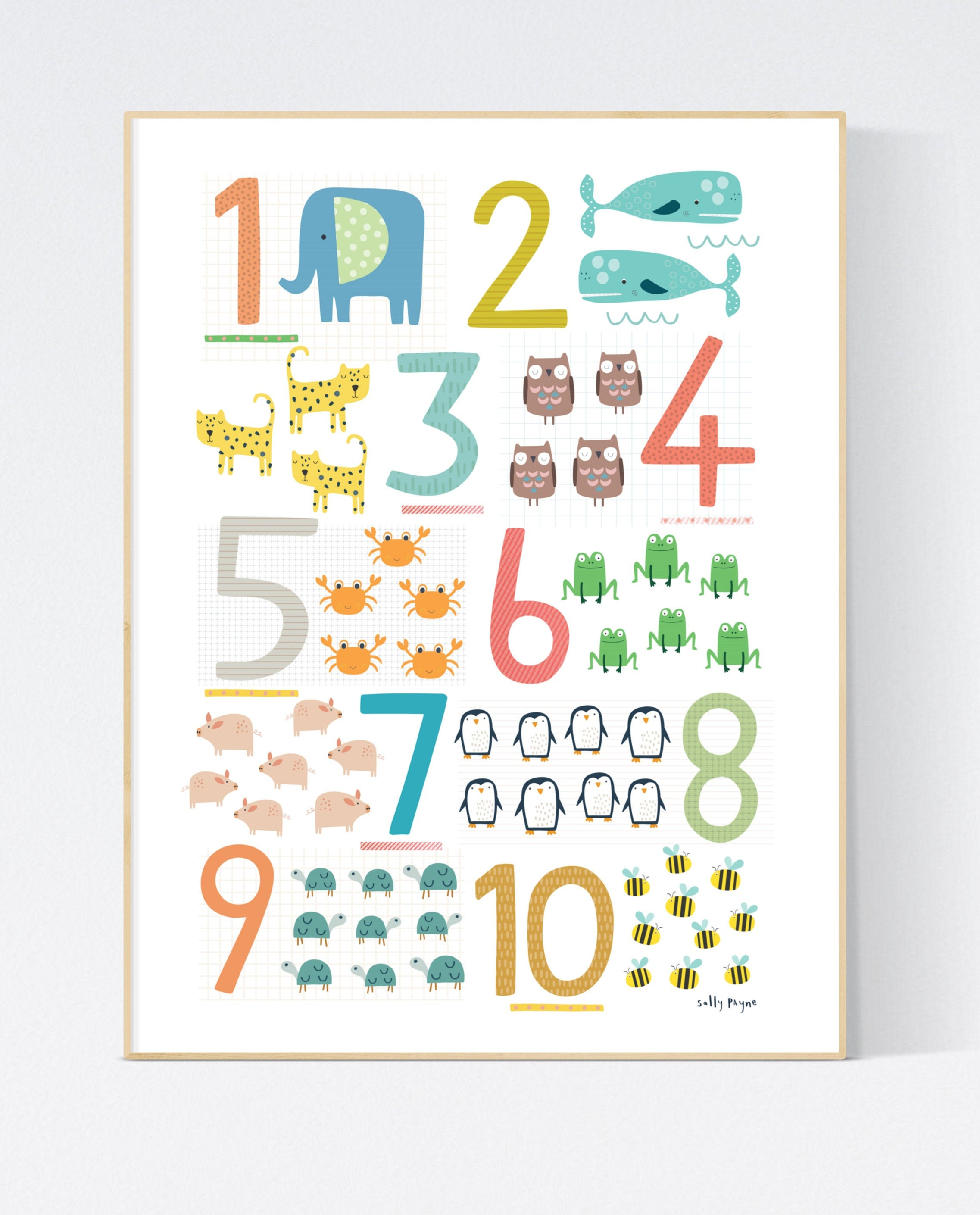 Numbers  Wall art -   Counting wall art -  Children's prints -  Children's wall art - Children's Illustration