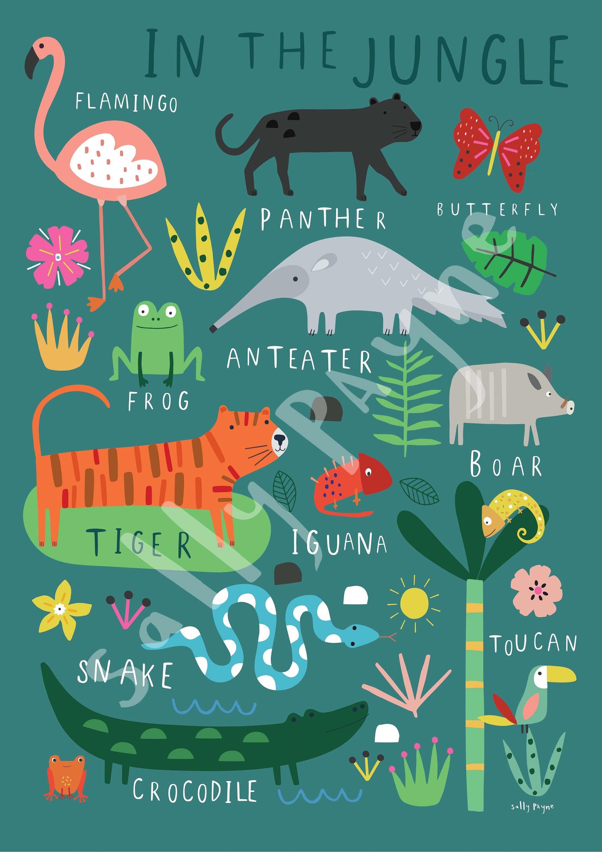 In the Jungle  Wall art -  wall art -  Children's prints -  Children's wall art - Children's Illustration
