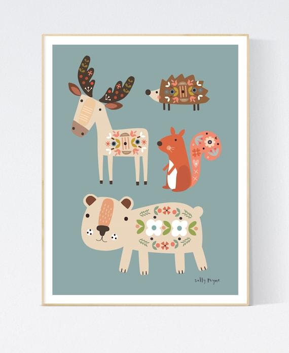 Woodland animals folk print-  wall art