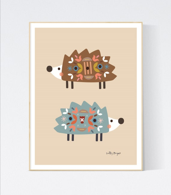 Hedgehog folk wall art