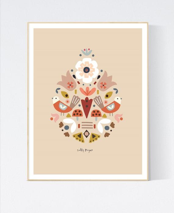 Folk bird symmetrical print-  children's prints