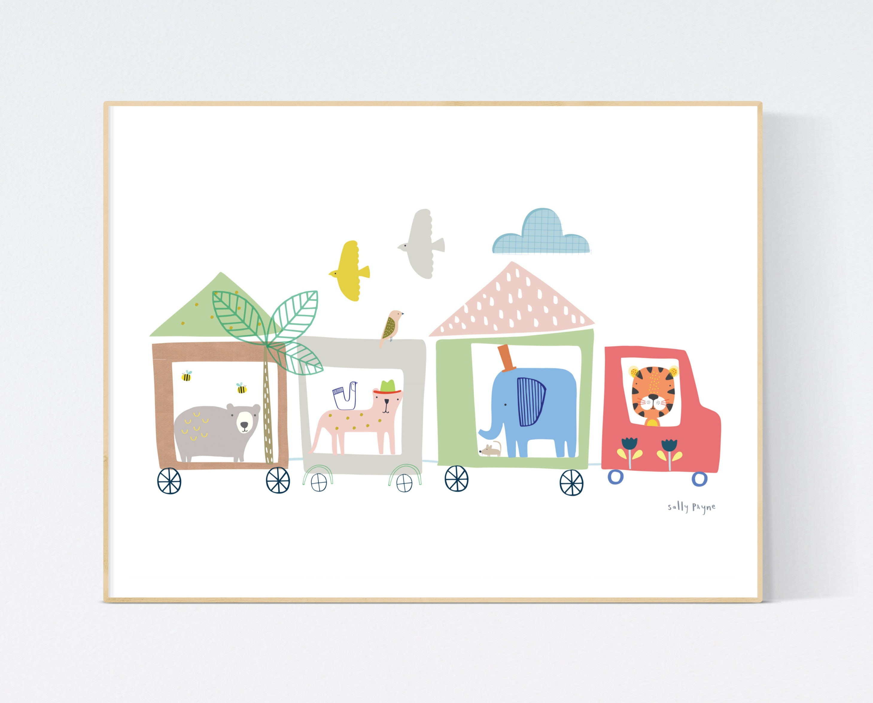 Animal Train print Wall art -  wall art -  Children's prints -  Children's wall art - Children's Illustration