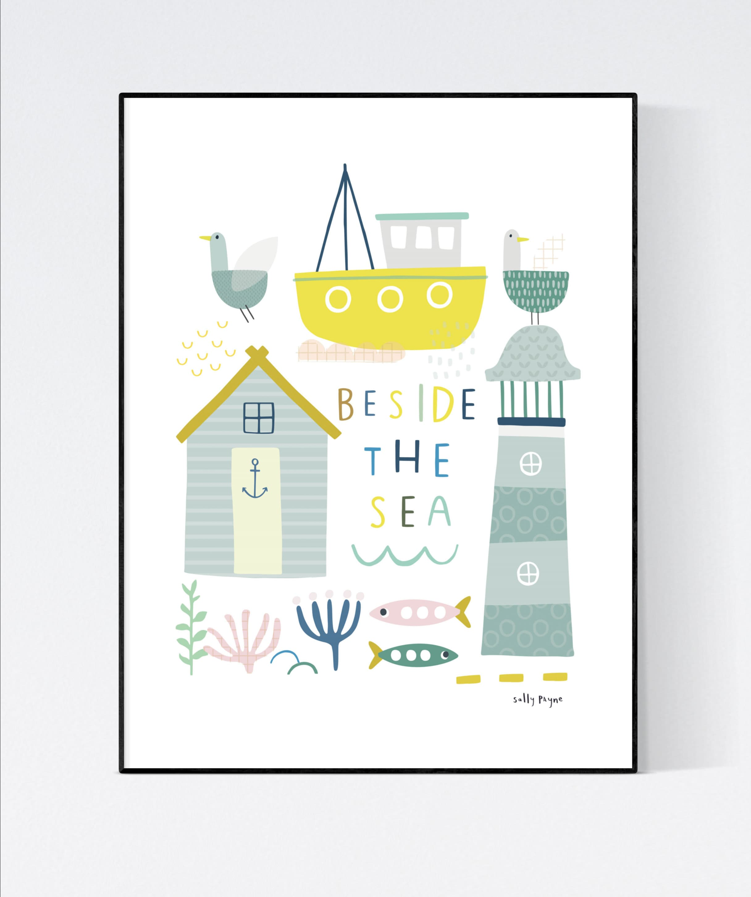 Beside the sea -  wall art -  Children's prints -  Children's wall art - Children's Illustration