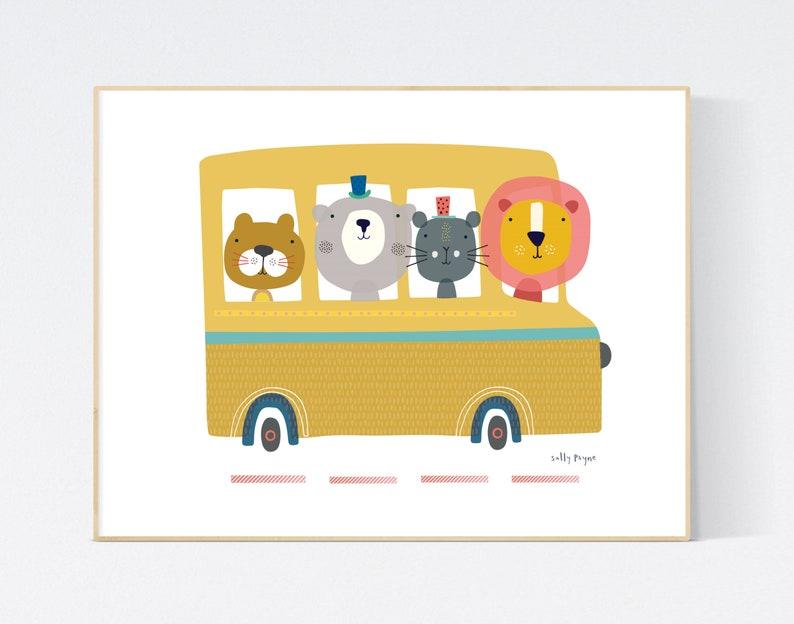 Animal Bus print Wall art   wall art   Children's prints image 0