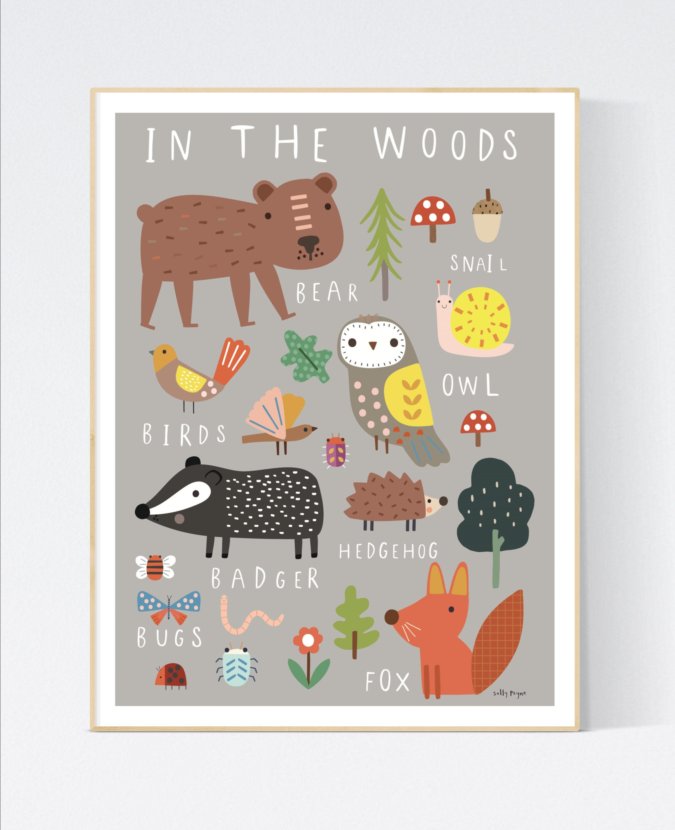In the Woods Wall art -  wall art -  Children's prints -  Children's wall art - Children's Illustration