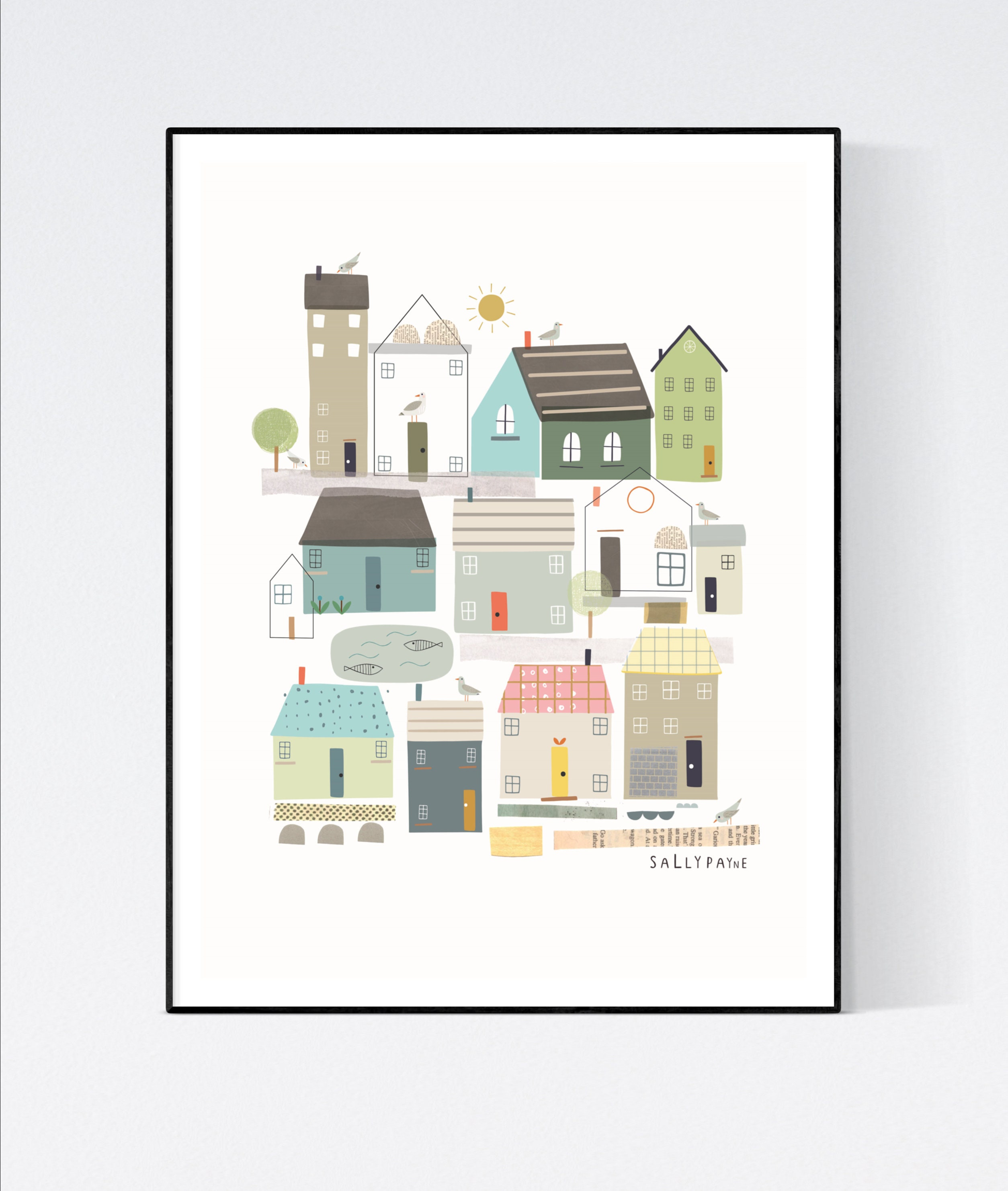 Coastal house print - wall print - wall art