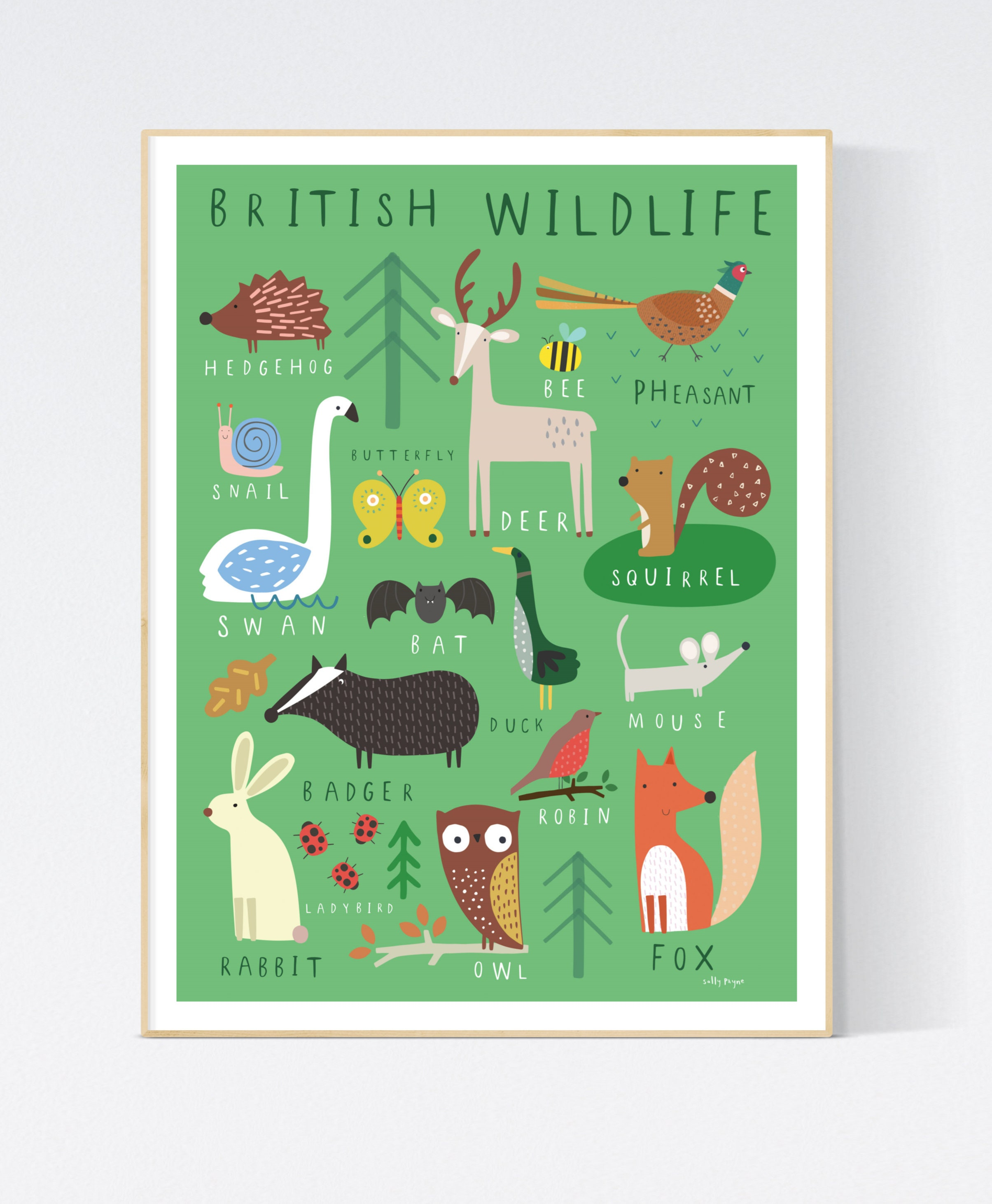 British Wildlife Wall art -  wall art -  Children's prints -  Children's wall art - Children's Illustration