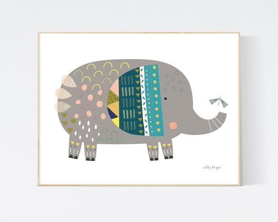 Elephant print wall art
