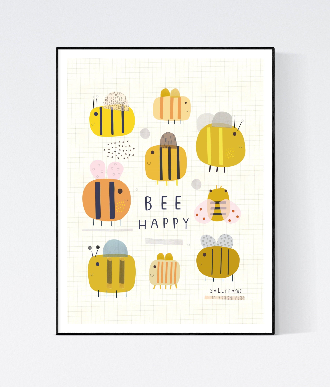 Bee Happy  Wall art -  wall art -  Children's prints -  Children's wall art - Children's Illustration