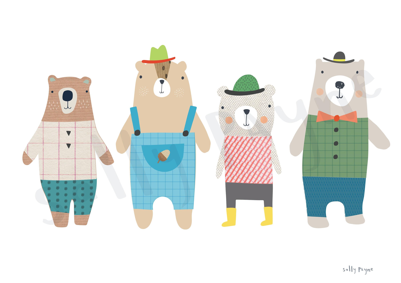 4 Bears print Wall art -  wall art -  Children's prints -  Children's wall art - Children's Illustration