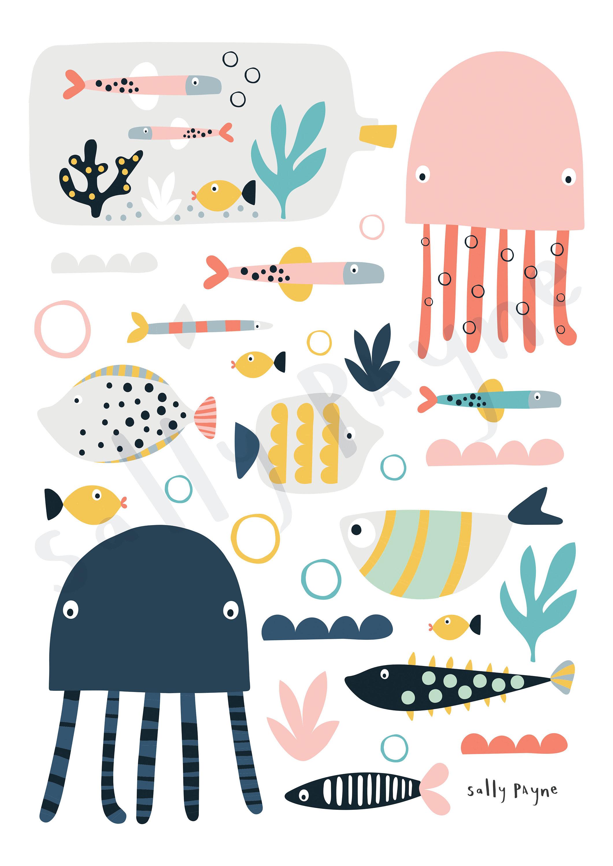 Nautical print Wall art -  wall art -  Children's prints -  Children's wall art - Children's Illustration