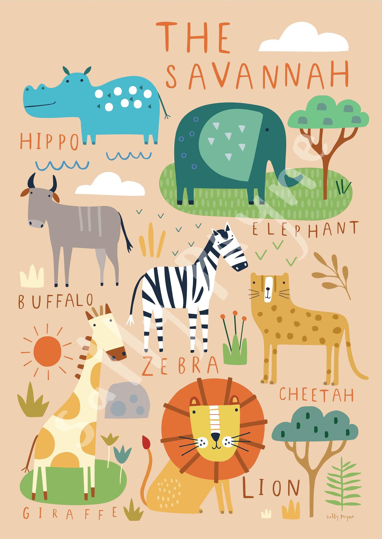 Savannah Wall art -  wall art -  Children's prints -  Children's wall art - Children's Illustration