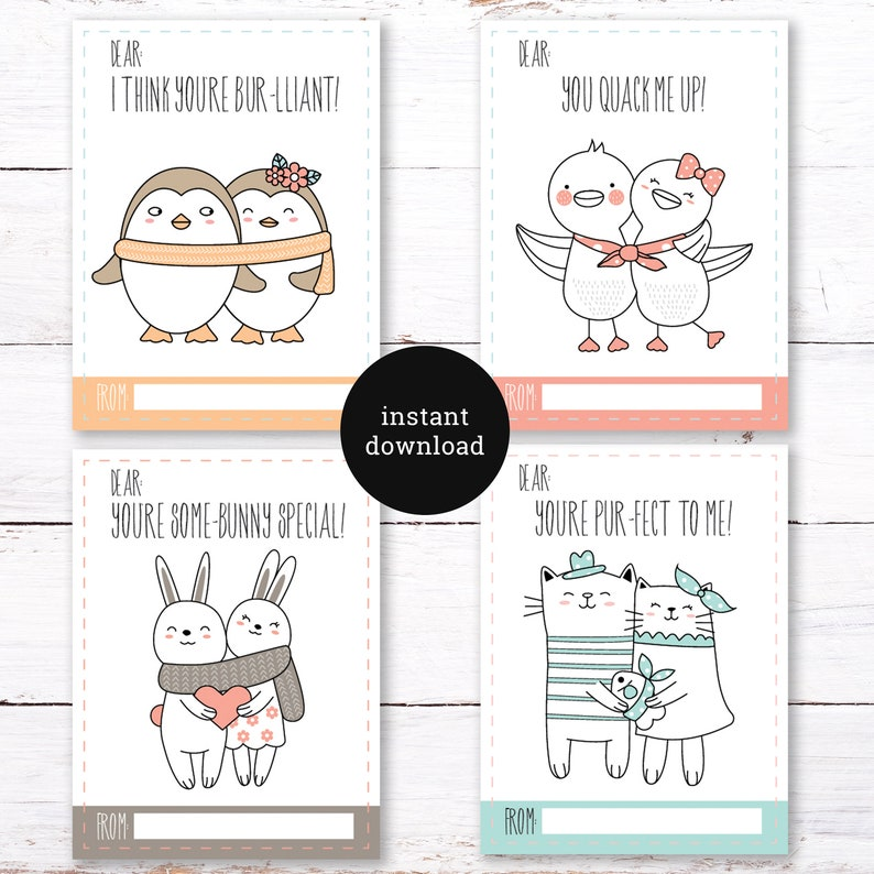 Cute Animal Printable Valentine's Day Cards | Preschool Valentine |  Kindergarten Valentine | Printable | Adorable Animals