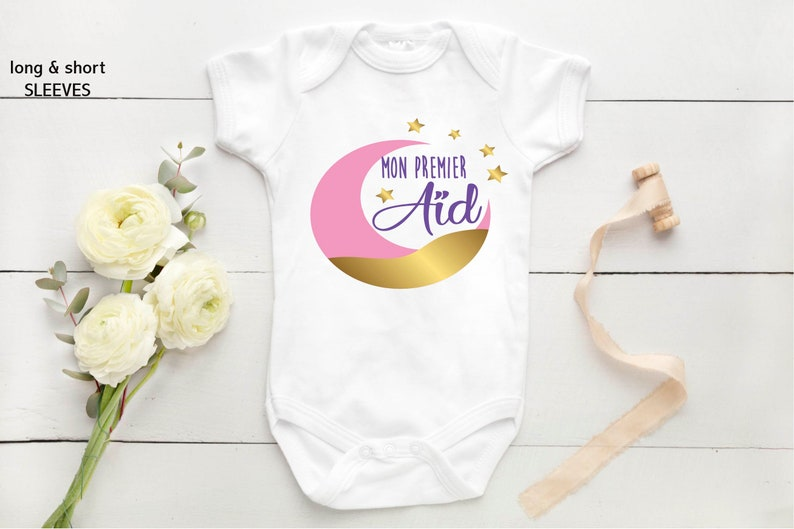 Mon premier a\u00efd My First Eid baby bodysuit baby gift tenue de b\u00e9b\u00e9 Eid Mubarak baby clothes personalised baby unisex vest