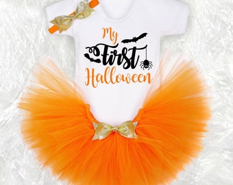 First Halloween baby outfit Halloween children and baby costume Halloween party outfit personalised Halloween gift