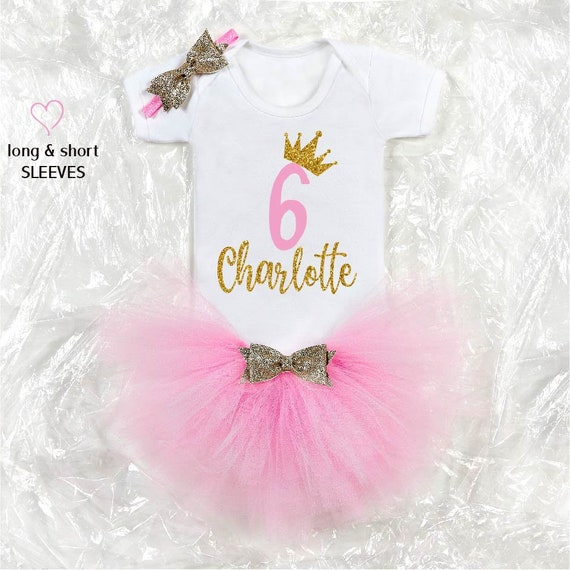 Birthday Girl Outfit Baby Tutu Cake Smash Outfit Rainbow Gold Outfit Personalised Sixth Birthday Girl Outfit CHOOSE COLOR!